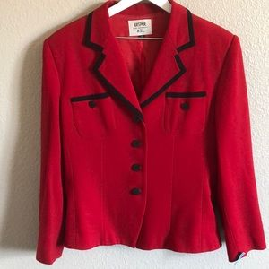 Kasper ASL red power blazer with black trim.